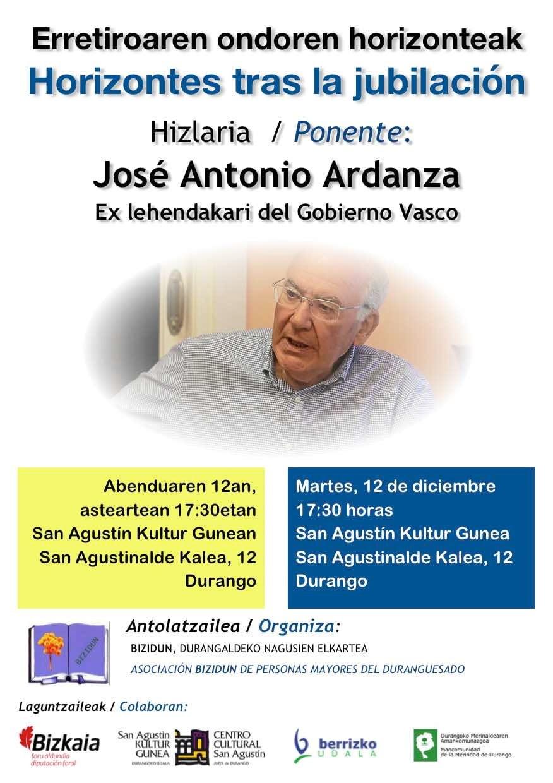 Durango, Jose Antonio Ardanzaren hitzaldia @ San Agustin Kultur Aretoa