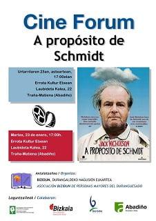 """Abadiño, zineforum """"A proposito de Schmidt"""" @ Errota Kultur Etxea"""