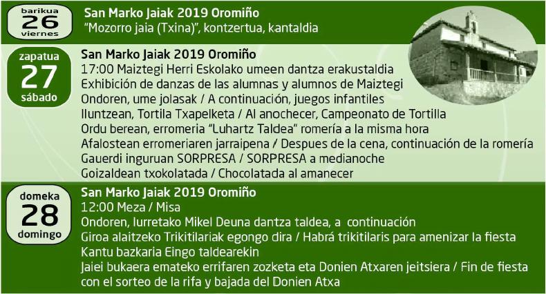 Iurreta, Oromiñoko San Marko jaiak @ Oromiño auzoa